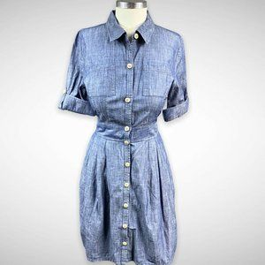 Old Navy Denim Chambray Fit & Flare Retro Dress